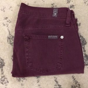7 For All Mankind Skinny Crop maroon